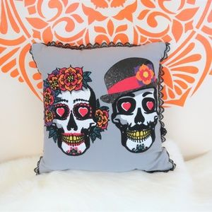 Day Of The Dead Pr Of Skull Embroidered Pillow